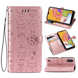 Embossing Dog Paw Kitten and Puppy Leather Wallet Case for Samsung Galaxy A01 - Rose Gold