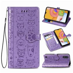 Embossing Dog Paw Kitten and Puppy Leather Wallet Case for Samsung Galaxy A01 - Purple