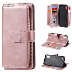 Multi-function Ten Card Slots and Photo Frame PU Leather Wallet Phone Case Cover for Samsung Galaxy A01 - Rose Gold