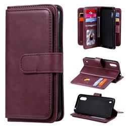 Multi-function Ten Card Slots and Photo Frame PU Leather Wallet Phone Case Cover for Samsung Galaxy A01 - Claret