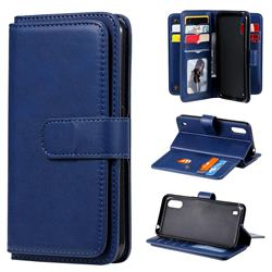 Multi-function Ten Card Slots and Photo Frame PU Leather Wallet Phone Case Cover for Samsung Galaxy A01 - Dark Blue