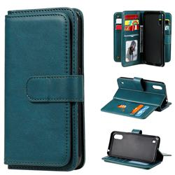 Multi-function Ten Card Slots and Photo Frame PU Leather Wallet Phone Case Cover for Samsung Galaxy A01 - Dark Green