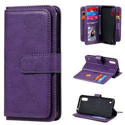 Multi-function Ten Card Slots and Photo Frame PU Leather Wallet Phone Case Cover for Samsung Galaxy A01 - Violet