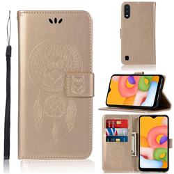 Intricate Embossing Owl Campanula Leather Wallet Case for Samsung Galaxy A01 - Champagne