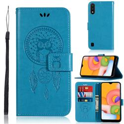 Intricate Embossing Owl Campanula Leather Wallet Case for Samsung Galaxy A01 - Blue