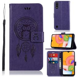Intricate Embossing Owl Campanula Leather Wallet Case for Samsung Galaxy A01 - Purple
