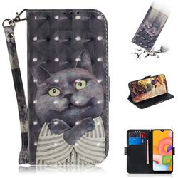 Cat Embrace 3D Painted Leather Wallet Phone Case for Samsung Galaxy A01