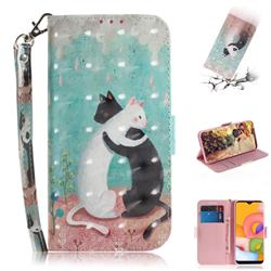 Black and White Cat 3D Painted Leather Wallet Phone Case for Samsung Galaxy A01