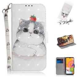 Cute Tomato Cat 3D Painted Leather Wallet Phone Case for Samsung Galaxy A01
