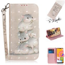 Three Squirrels 3D Painted Leather Wallet Phone Case for Samsung Galaxy A01