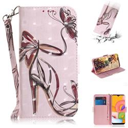 Butterfly High Heels 3D Painted Leather Wallet Phone Case for Samsung Galaxy A01
