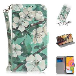 Watercolor Flower 3D Painted Leather Wallet Phone Case for Samsung Galaxy A01