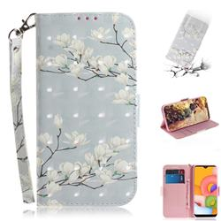 Magnolia Flower 3D Painted Leather Wallet Phone Case for Samsung Galaxy A01