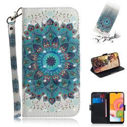 Peacock Mandala 3D Painted Leather Wallet Phone Case for Samsung Galaxy A01