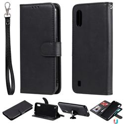 Retro Greek Detachable Magnetic PU Leather Wallet Phone Case for Samsung Galaxy A01 - Black
