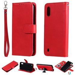 Retro Greek Detachable Magnetic PU Leather Wallet Phone Case for Samsung Galaxy A01 - Red