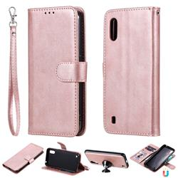 Retro Greek Detachable Magnetic PU Leather Wallet Phone Case for Samsung Galaxy A01 - Rose Gold