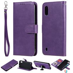 Retro Greek Detachable Magnetic PU Leather Wallet Phone Case for Samsung Galaxy A01 - Purple