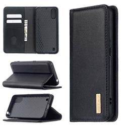 Binfen Color BF06 Luxury Classic Genuine Leather Detachable Magnet Holster Cover for Samsung Galaxy A01 - Black