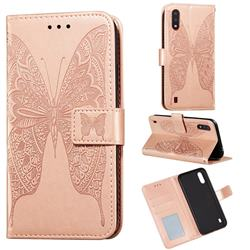 Intricate Embossing Vivid Butterfly Leather Wallet Case for Samsung Galaxy A01 - Rose Gold