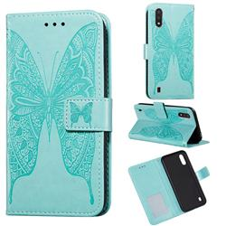 Intricate Embossing Vivid Butterfly Leather Wallet Case for Samsung Galaxy A01 - Green