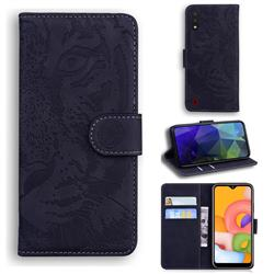 Intricate Embossing Tiger Face Leather Wallet Case for Samsung Galaxy A01 - Black