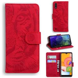 Intricate Embossing Tiger Face Leather Wallet Case for Samsung Galaxy A01 - Red
