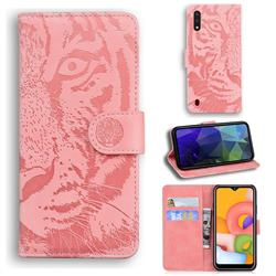 Intricate Embossing Tiger Face Leather Wallet Case for Samsung Galaxy A01 - Pink
