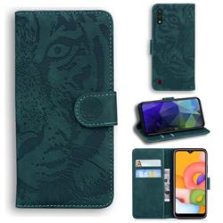 Intricate Embossing Tiger Face Leather Wallet Case for Samsung Galaxy A01 - Green