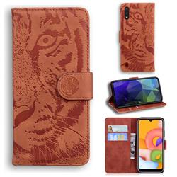 Intricate Embossing Tiger Face Leather Wallet Case for Samsung Galaxy A01 - Brown