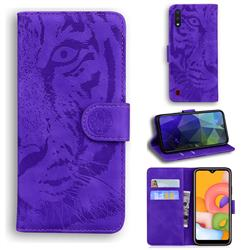 Intricate Embossing Tiger Face Leather Wallet Case for Samsung Galaxy A01 - Purple