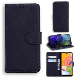 Retro Classic Skin Feel Leather Wallet Phone Case for Samsung Galaxy A01 - Black