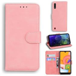 Retro Classic Skin Feel Leather Wallet Phone Case for Samsung Galaxy A01 - Pink