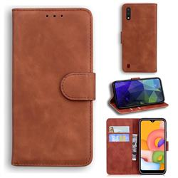 Retro Classic Skin Feel Leather Wallet Phone Case for Samsung Galaxy A01 - Brown