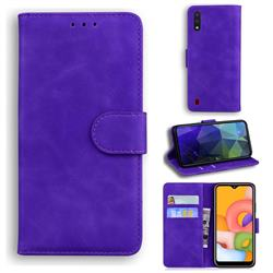 Retro Classic Skin Feel Leather Wallet Phone Case for Samsung Galaxy A01 - Purple