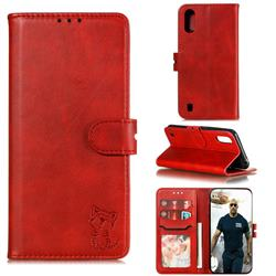 Embossing Happy Cat Leather Wallet Case for Samsung Galaxy A01 - Red