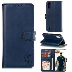 Embossing Happy Cat Leather Wallet Case for Samsung Galaxy A01 - Blue