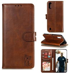 Embossing Happy Cat Leather Wallet Case for Samsung Galaxy A01 - Brown
