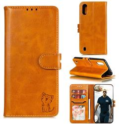 Embossing Happy Cat Leather Wallet Case for Samsung Galaxy A01 - Yellow