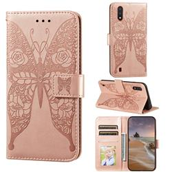 Intricate Embossing Rose Flower Butterfly Leather Wallet Case for Samsung Galaxy A01 - Rose Gold