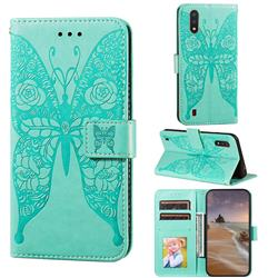 Intricate Embossing Rose Flower Butterfly Leather Wallet Case for Samsung Galaxy A01 - Green