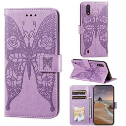 Intricate Embossing Rose Flower Butterfly Leather Wallet Case for Samsung Galaxy A01 - Purple