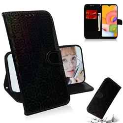 Laser Circle Shining Leather Wallet Phone Case for Samsung Galaxy A01 - Black