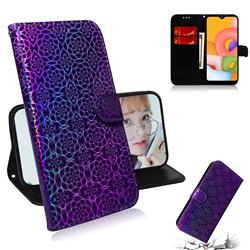 Laser Circle Shining Leather Wallet Phone Case for Samsung Galaxy A01 - Purple