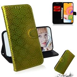 Laser Circle Shining Leather Wallet Phone Case for Samsung Galaxy A01 - Golden