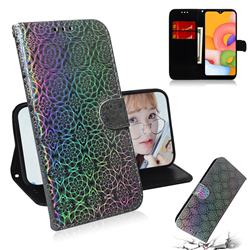 Laser Circle Shining Leather Wallet Phone Case for Samsung Galaxy A01 - Silver