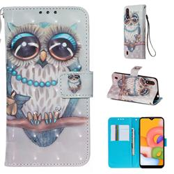 Sweet Gray Owl 3D Painted Leather Wallet Case for Samsung Galaxy A01