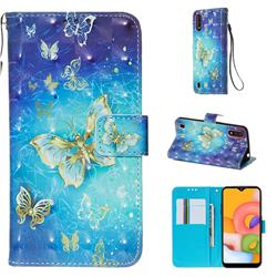 Gold Butterfly 3D Painted Leather Wallet Case for Samsung Galaxy A01