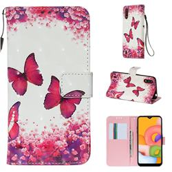 Rose Butterfly 3D Painted Leather Wallet Case for Samsung Galaxy A01
