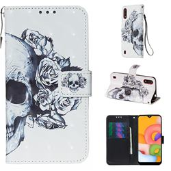 Skull Flower 3D Painted Leather Wallet Case for Samsung Galaxy A01